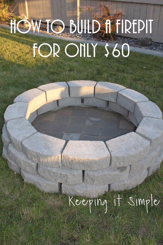 DIY Fireplace Ideas - Outdoor Firepit On A Budget - Do It Yourself Firepit Projects and Fireplaces for Your Yard, Patio, Porch and Home. Outdoor Fire Pit Tutorials for Backyard with Easy Step by Step Tutorials - Cool DIY Projects for Men #diyideas #outdoors #diy