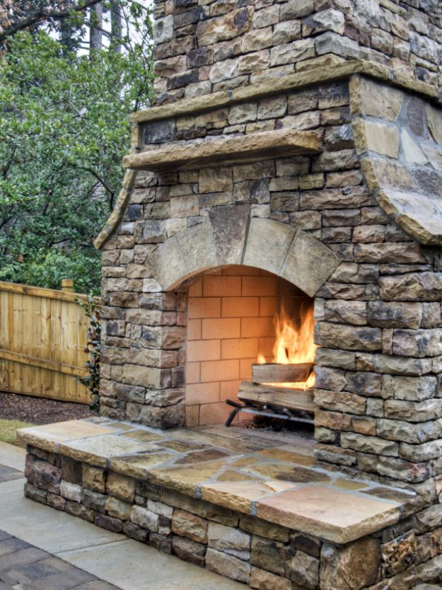 DIY Fireplace Ideas - Outdoor Stacked Stone Fireplace - Do It Yourself Firepit Projects and Fireplaces for Your Yard, Patio, Porch and Home. Outdoor Fire Pit Tutorials for Backyard with Easy Step by Step Tutorials - Cool DIY Projects for Men #diyideas #outdoors #diy