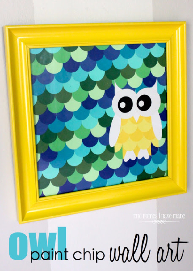 DIY Projects Made With Paint Chips - Owl Paint Chip Wall Art - Best Creative Crafts, Easy DYI Projects You Can Make With Paint Chips - Cool Paint Chip Crafts and Project Tutorials - Crafty DIY Home Decor Ideas That Make Awesome DIY Gifts and Christmas Presents for Friends and Family #diy #crafts #paintchip #cheapcrafts