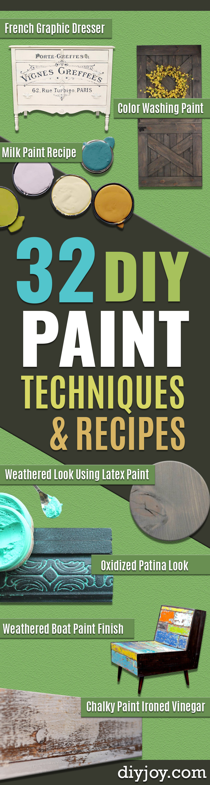 32 DIY Paint Techniques and Recipes - Cool Painting Ideas for Walls and Furniture - Awesome Tutorials for Stencil Projects and Easy Step By Step Tutorials for Painting Beautiful Backgrounds and Patterns. Modern, Vintage, Distressed and Classic Looks for Home, Living Room, Bedroom and More http://diyjoy.com/diy-paint-techniques
