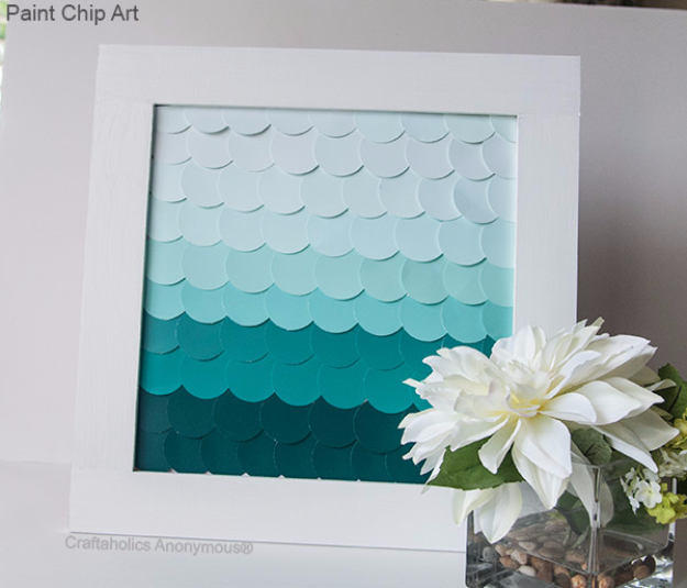 DIY Projects Made With Paint Chips - Paint Chip Art With Ombre - Best Creative Crafts, Easy DYI Projects You Can Make With Paint Chips - Cool Paint Chip Crafts and Project Tutorials - Crafty DIY Home Decor Ideas That Make Awesome DIY Gifts and Christmas Presents for Friends and Family #diy #crafts #paintchip #cheapcrafts