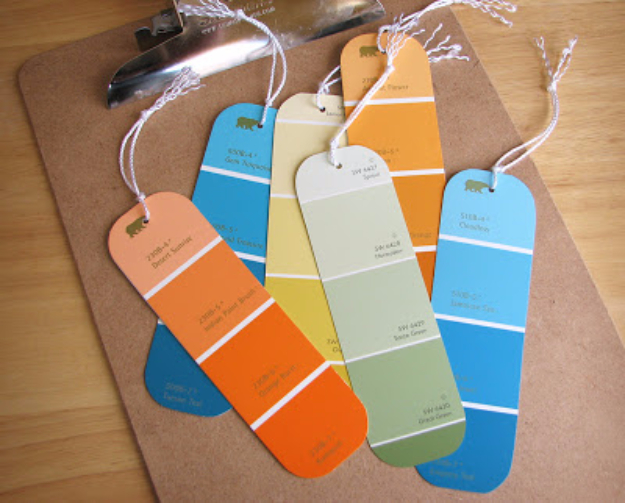 DIY Projects Made With Paint Chips - Paint Chip Bookmarks - Best Creative Crafts, Easy DYI Projects You Can Make With Paint Chips - Cool Paint Chip Crafts and Project Tutorials - Crafty DIY Home Decor Ideas That Make Awesome DIY Gifts and Christmas Presents for Friends and Family #diy #crafts #paintchip #cheapcrafts