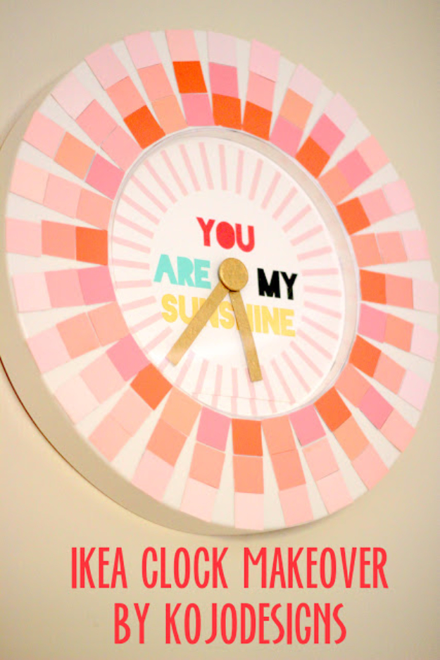 DIY Projects Made With Paint Chips - Paint Chip Clock - Best Creative Crafts, Easy DYI Projects You Can Make With Paint Chips - Cool Paint Chip Crafts and Project Tutorials - Crafty DIY Home Decor Ideas That Make Awesome DIY Gifts and Christmas Presents for Friends and Family #diy #crafts #paintchip #cheapcrafts