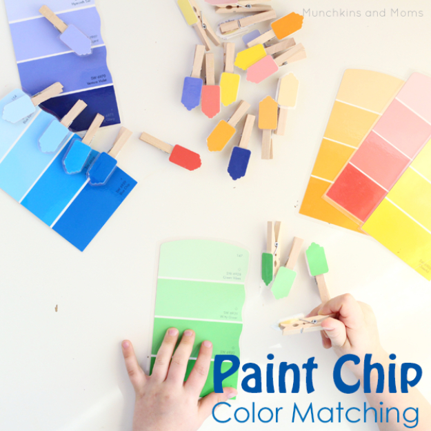DIY Projects Made With Paint Chips - Paint Chip Color Matching Activity - Best Creative Crafts, Easy DYI Projects You Can Make With Paint Chips - Cool Paint Chip Crafts and Project Tutorials - Crafty DIY Home Decor Ideas That Make Awesome DIY Gifts and Christmas Presents for Friends and Family #diy #crafts #paintchip #cheapcrafts