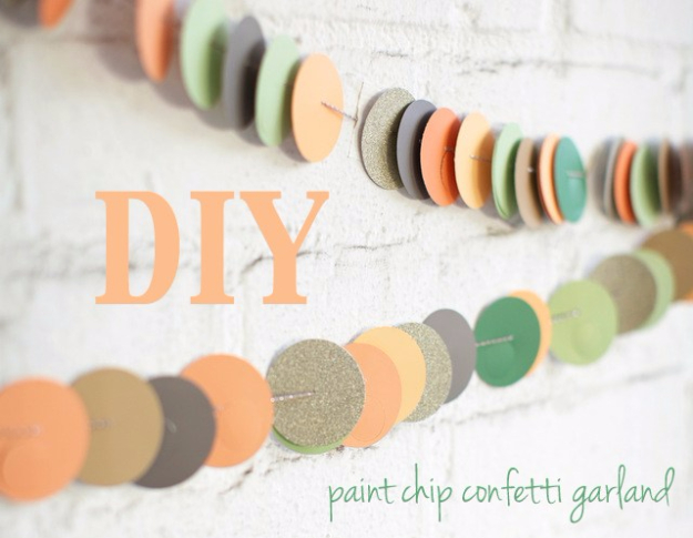 DIY Projects Made With Paint Chips - Paint Chip Confetti Garland - Best Creative Crafts, Easy DYI Projects You Can Make With Paint Chips - Cool Paint Chip Crafts and Project Tutorials - Crafty DIY Home Decor Ideas That Make Awesome DIY Gifts and Christmas Presents for Friends and Family #diy #crafts #paintchip #cheapcrafts