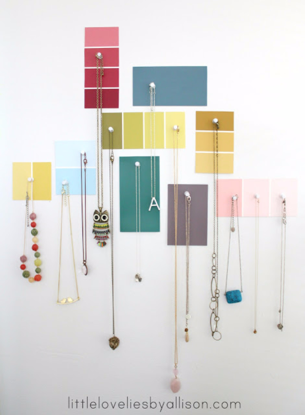 DIY Projects Made With Paint Chips - Paint Chip Jewelry Display - Best Creative Crafts, Easy DYI Projects You Can Make With Paint Chips - Cool Paint Chip Crafts and Project Tutorials - Crafty DIY Home Decor Ideas That Make Awesome DIY Gifts and Christmas Presents for Friends and Family #diy #crafts #paintchip #cheapcrafts
