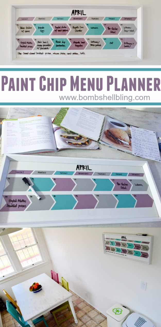 DIY Projects Made With Paint Chips - Paint Chip Menu Planner - Best Creative Crafts, Easy DYI Projects You Can Make With Paint Chips - Cool Paint Chip Crafts and Project Tutorials - Crafty DIY Home Decor Ideas That Make Awesome DIY Gifts and Christmas Presents for Friends and Family #diy #crafts #paintchip #cheapcrafts