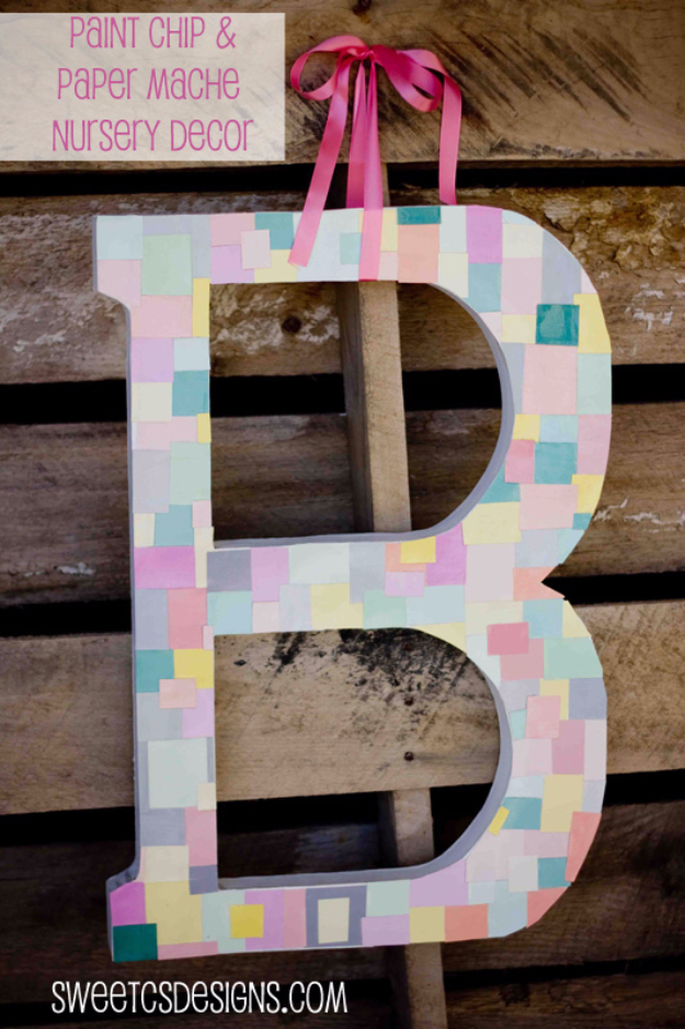 DIY Projects Made With Paint Chips - Paint Chip Monogram - Best Creative Crafts, Easy DYI Projects You Can Make With Paint Chips - Cool Paint Chip Crafts and Project Tutorials - Crafty DIY Home Decor Ideas That Make Awesome DIY Gifts and Christmas Presents for Friends and Family #diy #crafts #paintchip #cheapcrafts