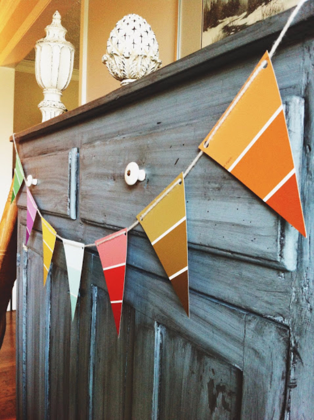 DIY Projects Made With Paint Chips - Paint Chip Party Banner - Best Creative Crafts, Easy DYI Projects You Can Make With Paint Chips - Cool Paint Chip Crafts and Project Tutorials - Crafty DIY Home Decor Ideas That Make Awesome DIY Gifts and Christmas Presents for Friends and Family #diy #crafts #paintchip #cheapcrafts