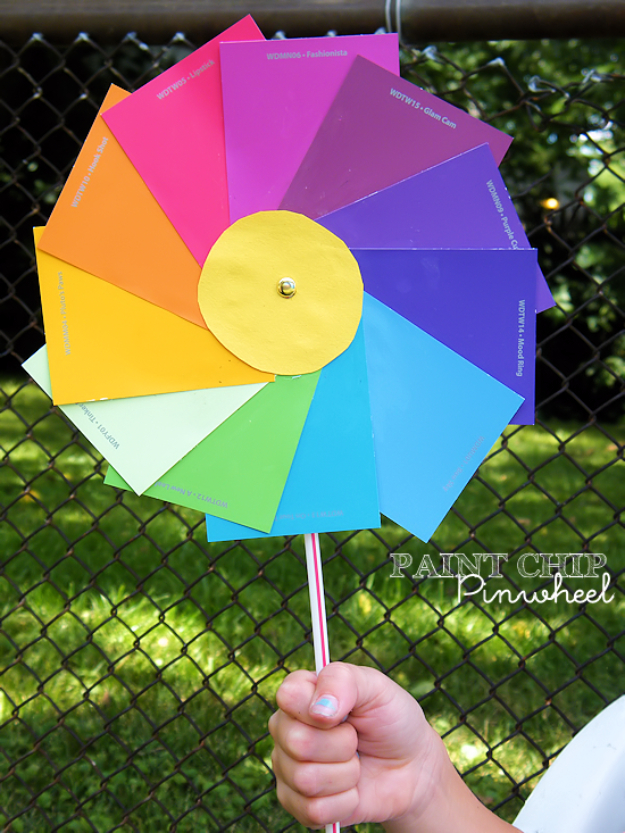 DIY Projects Made With Paint Chips - Paint Chip Pinwheels - Best Creative Crafts, Easy DYI Projects You Can Make With Paint Chips - Cool Paint Chip Crafts and Project Tutorials - Crafty DIY Home Decor Ideas That Make Awesome DIY Gifts and Christmas Presents for Friends and Family #diy #crafts #paintchip #cheapcrafts