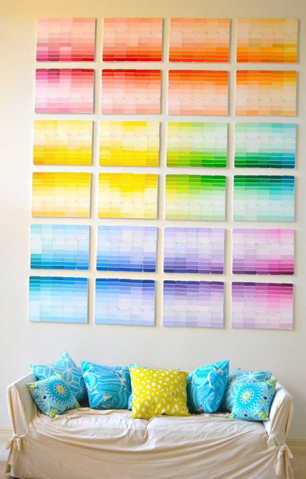 DIY Projects Made With Paint Chips - Paint Chip Wall - Best Creative Crafts, Easy DYI Projects You Can Make With Paint Chips - Cool Paint Chip Crafts and Project Tutorials - Crafty DIY Home Decor Ideas That Make Awesome DIY Gifts and Christmas Presents for Friends and Family #diy #crafts #paintchip #cheapcrafts