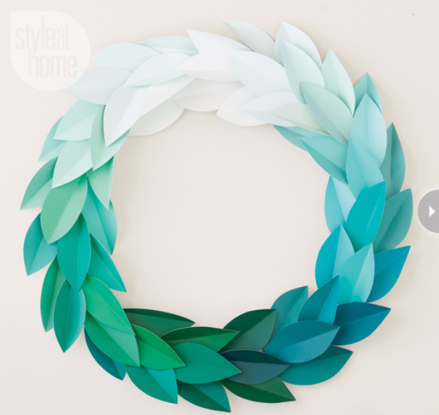 DIY Projects Made With Paint Chips - Paint Chip Wreath - Best Creative Crafts, Easy DYI Projects You Can Make With Paint Chips - Cool Paint Chip Crafts and Project Tutorials - Crafty DIY Home Decor Ideas That Make Awesome DIY Gifts and Christmas Presents for Friends and Family #diy #crafts #paintchip #cheapcrafts