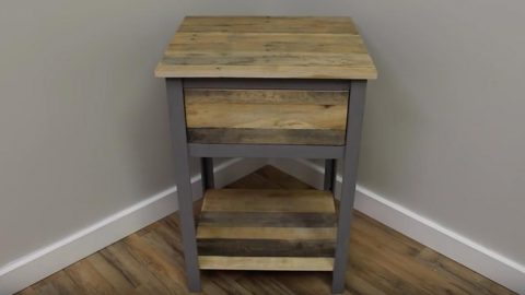 He Makes An Industrial Nightstand Out of Pallet Wood — So Awesome! | DIY Joy Projects and Crafts Ideas