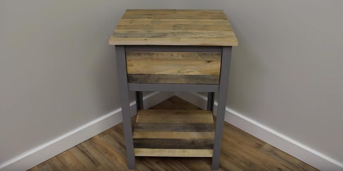 He Makes An Industrial Nightstand Out Of Pallet Wood So Awesome