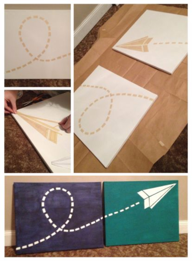DIY Room Decor for Boys - Paper Airplane Canvas - Best Creative Bedroom Ideas for Boy Rooms - Wall Art, Lamps, Rugs, Lamps, Beds, Bedding and Furniture You Can Make for Teens, Tweens and Teenagers #diy #homedecor #boys