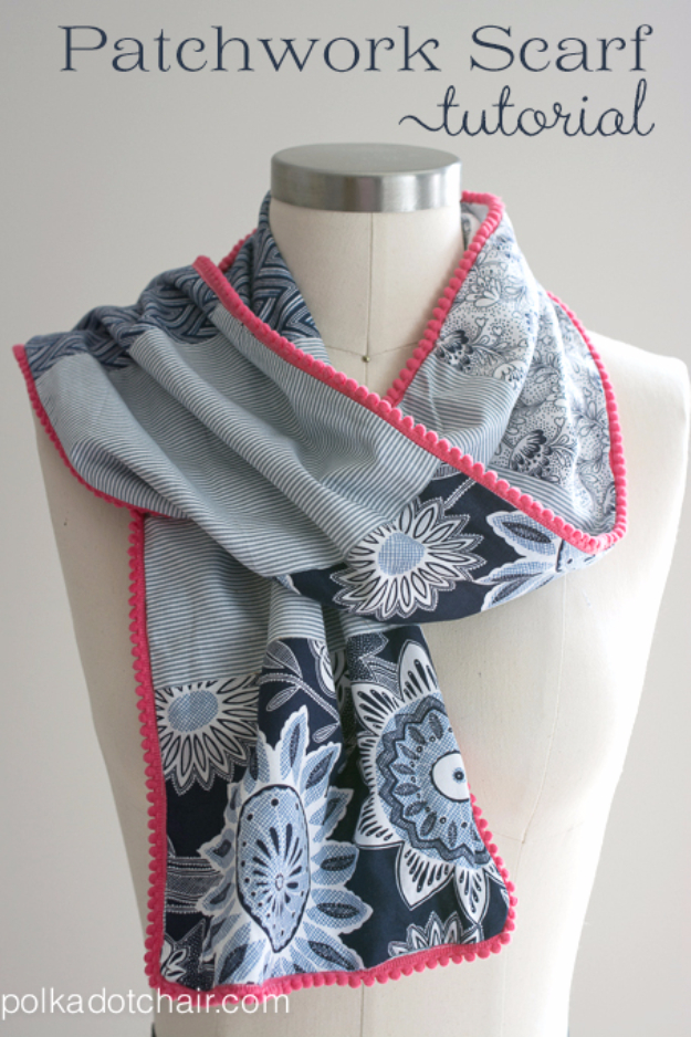 DIY Gifts To Sew For Friends - Patchwork Scarf - Quick and Easy Sewing Projects and Free Patterns for Best Gift Ideas and Presents - Creative Step by Step Tutorials for Beginners - Cute Home Decor, Accessories, Kitchen Crafts and DIY Fashion Ideas #diy #crafts #sewing