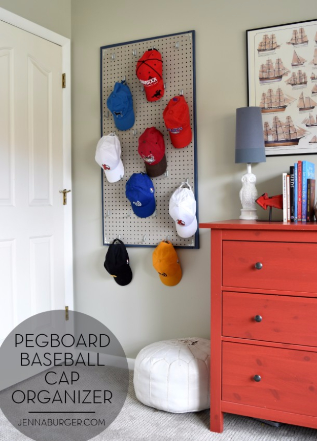 DIY Room Decor for Boys - Pegboard Baseball Cap Organizer - Best Creative Bedroom Ideas for Boy Rooms - Wall Art, Lamps, Rugs, Lamps, Beds, Bedding and Furniture You Can Make for Teens, Tweens and Teenagers #diy #homedecor #boys