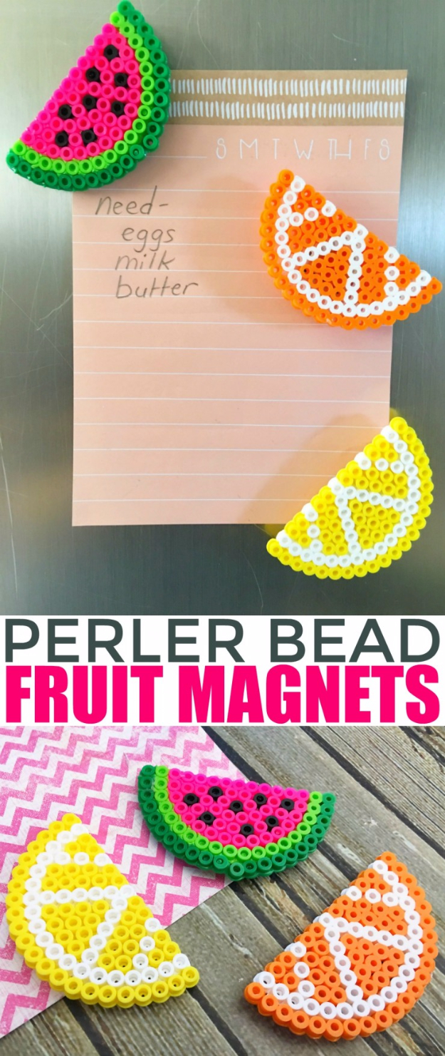 Crafts For Kids To Make At Home - Perler Bead Fruit Magnets - Cheap DIY Projects and Fun Craft Ideas for Children - Cute Paper Crafts, Fall and Winter Fun, Things For Toddlers, Babies, Boys and Girls to Make At Home http://diyjoy.com/diy-ideas-for-kids-to-make