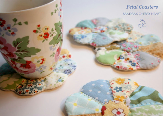 DIY Gifts To Sew For Friends - Petal Coasters - Quick and Easy Sewing Projects and Free Patterns for Best Gift Ideas and Presents - Creative Step by Step Tutorials for Beginners - Cute Home Decor, Accessories, Kitchen Crafts and DIY Fashion Ideas #diy #crafts #sewing