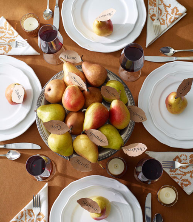 Best Thanksgiving Centerpieces and Table Decor - Pile Of Pears Centerpiece - Creative Crafts for Your Thanksgiving Dinner Table. Mason Jars, Flowers, Leaves, Candles and Pumkin Decorations for Your FallHome Decor http://diyjoy.com/best-thanksgiving-centerpieces