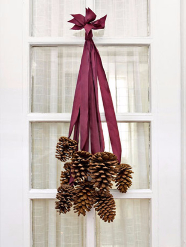 DIY Thanksgiving Decor Ideas - Pinecone Door Hanging - Fall Projects and Crafts for Thanksgiving Dinner Centerpieces, Vases, Arrangements With Leaves and Pumpkins - Easy and Cheap Crafts to Make for Home Decor  #diy