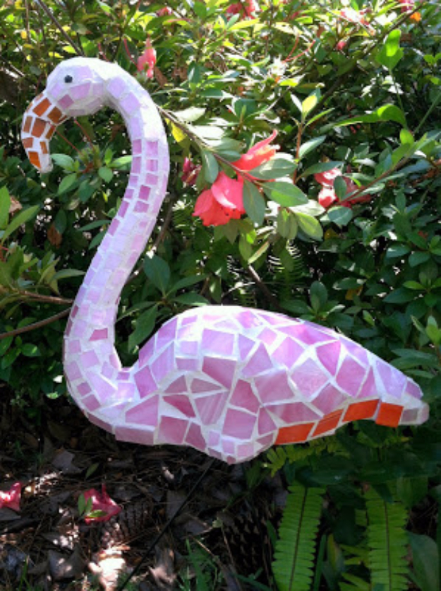 DIY Projects Made With Broken Tile - Pink Mosaic Flamingo Art - Best Creative Crafts, Easy DYI Projects You Can Make With Tiles - Mosaic Patterns and Crafty DIY Home Decor Ideas That Make Awesome DIY Gifts and Christmas Presents for Friends and Family