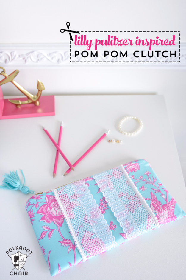 DIY Gifts To Sew For Friends - Pom Pom Clutch - Quick and Easy Sewing Projects and Free Patterns for Best Gift Ideas and Presents - Creative Step by Step Tutorials for Beginners - Cute Home Decor, Accessories, Kitchen Crafts and DIY Fashion Ideas #diy #crafts #sewing