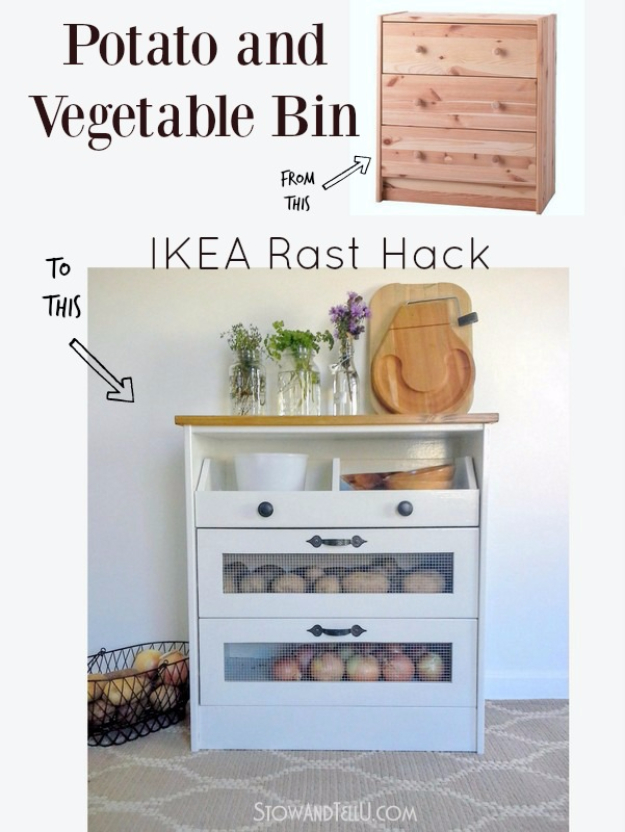 Best IKEA Hacks and DIY Hack Ideas for Furniture Projects and Home Decor from IKEA - Potato and Vegetable Bin IKEA Rast Hack - Creative IKEA Hack Tutorials for DIY Platform Bed, Desk, Vanity, Dresser, Coffee Table, Storage and Kitchen, Bedroom and Bathroom Decor #ikeahacks #diy