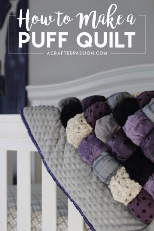 Best Quilting Projects for DIY Gifts - Puff Quilt - Things You Can Quilt and Sew for Friends, Family and Christmas Gift Ideas - Easy and Quick Quilting Patterns for Presents To Give At Holidays, Birthdays and Baby Gifts. Step by Step Tutorials and Instructions