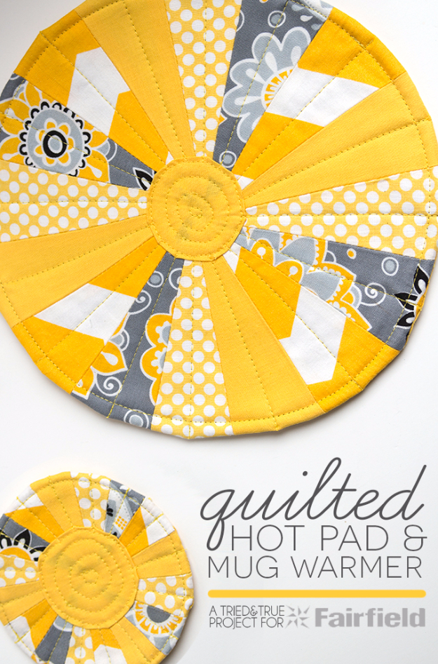 Best Quilting Projects for DIY Gifts -Quilted Hot Pad And Mug Warmer - Things You Can Quilt and Sew for Friends, Family and Christmas Gift Ideas - Easy and Quick Quilting Patterns for Presents To Give At Holidays, Birthdays and Baby Gifts. Step by Step Tutorials and Instructions