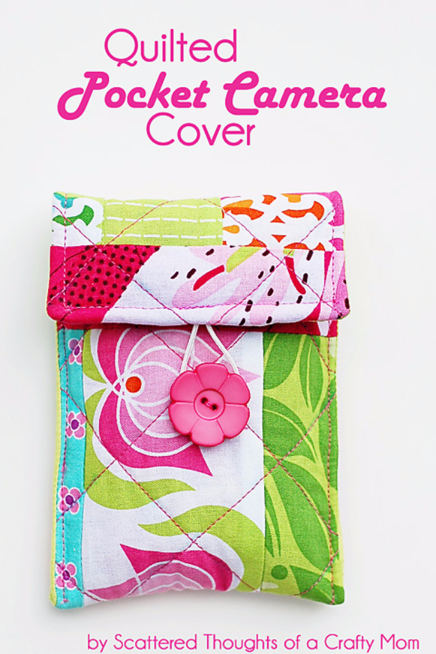 Best Quilting Projects for DIY Gifts - Quilted Pocket Camera Cover - Things You Can Quilt and Sew for Friends, Family and Christmas Gift Ideas - Easy and Quick Quilting Patterns for Presents To Give At Holidays, Birthdays and Baby Gifts. Step by Step Tutorials and Instructions http://diyjoy.com/quilting-projects-diy-gifts