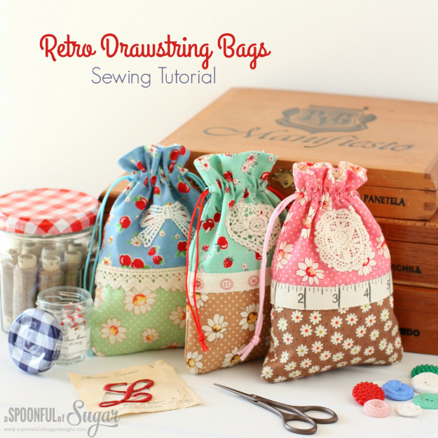 DIY Gifts To Sew For Friends - Retro Drawstring Bags - Quick and Easy Sewing Projects and Free Patterns for Best Gift Ideas and Presents - Creative Step by Step Tutorials for Beginners - Cute Home Decor, Accessories, Kitchen Crafts and DIY Fashion Ideas #diy #crafts #sewing
