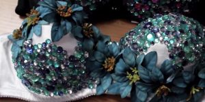 She Easily Makes A Magnificent Embellished Rave Bra For Her Costume!