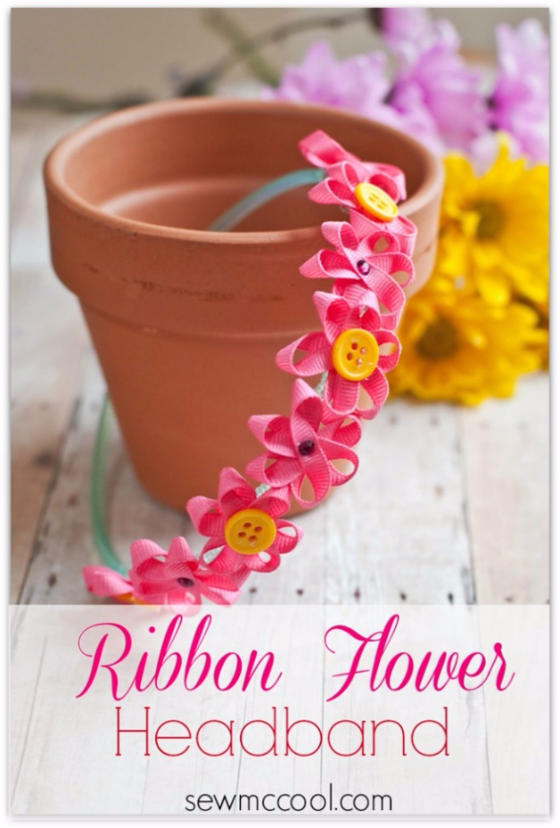 Crafts For Kids To Make At Home - Ribbon Flower Headband Tutorial - Cheap DIY Projects and Fun Craft Ideas for Children - Cute Paper Crafts, Fall and Winter Fun, Things For Toddlers, Babies, Boys and Girls to Make At Home http://diyjoy.com/diy-ideas-for-kids-to-make