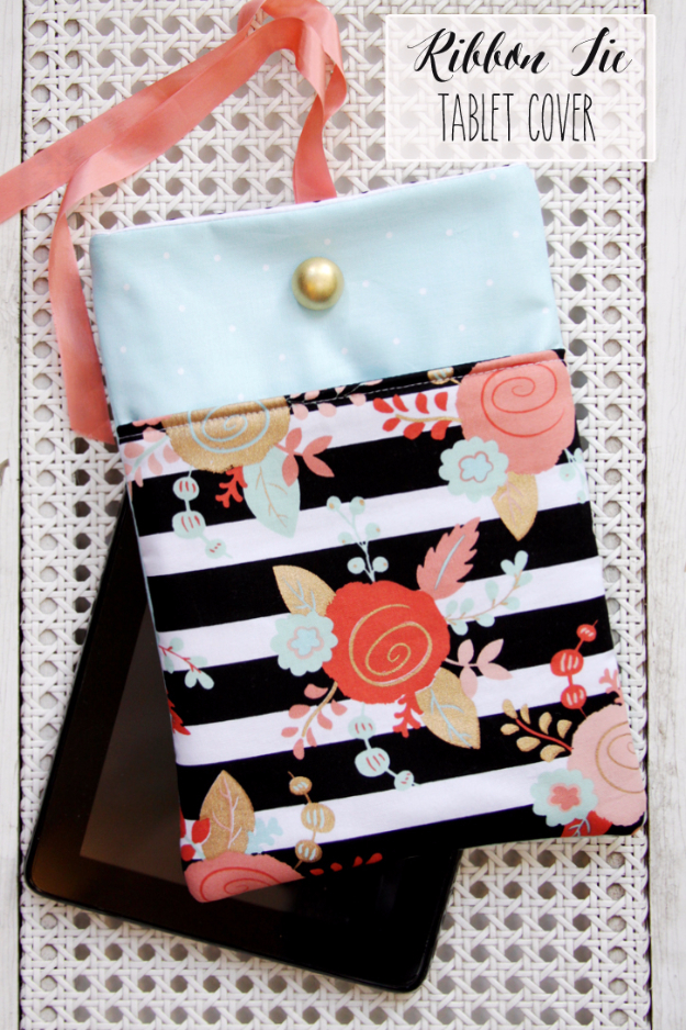 DIY Gifts To Sew For Friends - Ribbon Tie Tablet Case - Quick and Easy Sewing Projects and Free Patterns for Best Gift Ideas and Presents - Creative Step by Step Tutorials for Beginners - Cute Home Decor, Accessories, Kitchen Crafts and DIY Fashion Ideas #diy #crafts #sewing