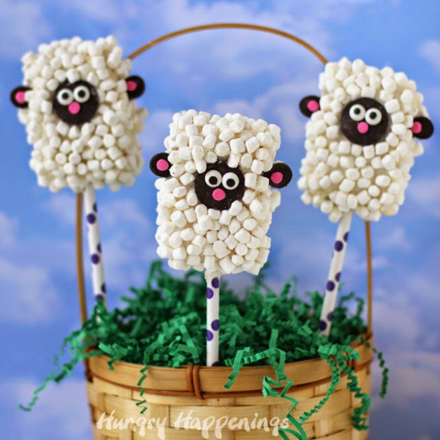Crafts For Kids To Make At Home - Rice Krispies Treat Lamb Pops - Cheap DIY Projects and Fun Craft Ideas for Children - Cute Paper Crafts, Fall and Winter Fun, Things For Toddlers, Babies, Boys and Girls #kidscrafts #crafts #kids