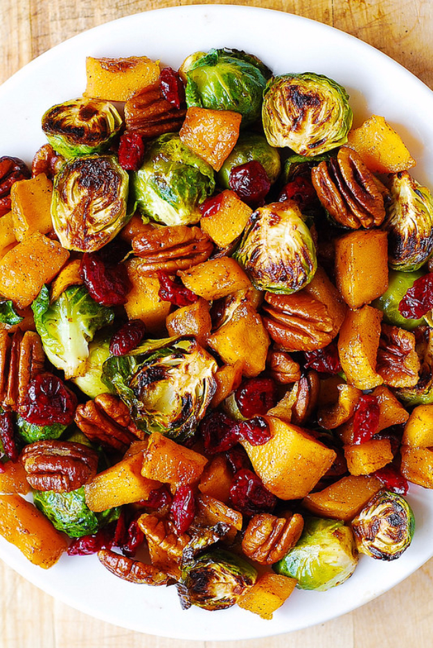 Best Thanksgiving Dinner Recipes - Roasted Brussel Sprouts Cinnamon Butternut Squash And Cranberries - Easy DIY Desserts, Sides, Sauces, Main Courses, Vegetables, Pie and Side Dishes. Simple Gravy, Cranberries, Turkey and Pies With Step by Step Tutorials