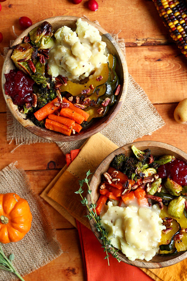 Best Thanksgiving Dinner Recipes - Roasted Vegan Thanksgiving Bowl - Easy DIY Desserts, Sides, Sauces, Main Courses, Vegetables, Pie and Side Dishes. Simple Gravy, Cranberries, Turkey and Pies With Step by Step Tutorials
