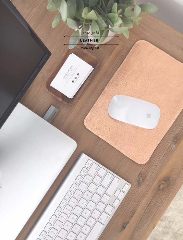 Cool DIY Gifts for Girls - Rose Gold Leather Mousepad DIY - Cute Crafts and DIY Projects that Make Cool DYI Gift Ideas for Young and Older Girls, Teens and Teenagers - Awesome Room and Home Decor for Bedroom, Fashion, Jewelry and Hair Accessories - Cheap Craft Projects To Make For a Girl -DIY Christmas Presents for Tweens #diygifts #girlsgifts