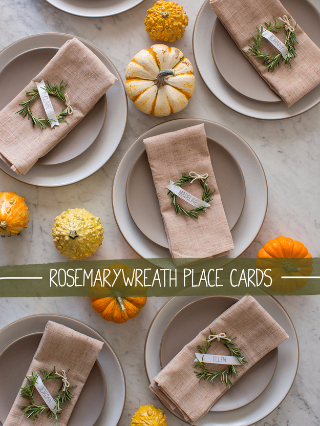 DIY Thanksgiving Decor Ideas - Rosemary Wreath Place Cards - Fall Projects and Crafts for Thanksgiving Dinner Centerpieces, Vases, Arrangements With Leaves and Pumpkins - Easy and Cheap Crafts to Make for Home Decor #diy