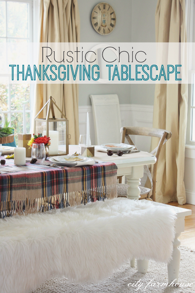 Best Thanksgiving Centerpieces and Table Decor - Rustic Chic Thanksgiving Tablescape - Creative Crafts for Your Thanksgiving Dinner Table. Mason Jars, Flowers, Leaves, Candles, Pumpkin Ideas #thanksgiving #diy