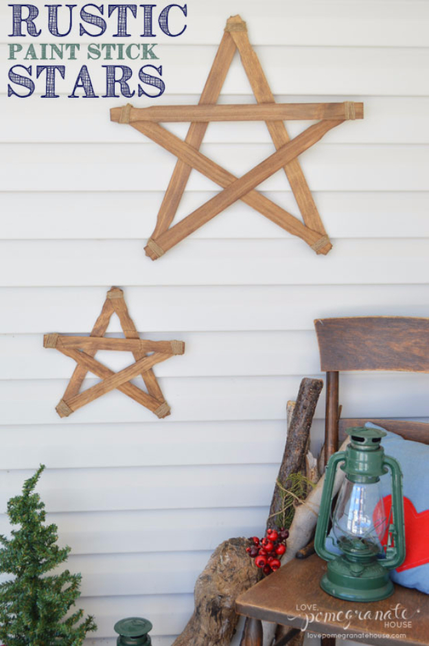 DIY Projects Made With Paint Sticks - Rustic Paint Stick Stars - Best Creative Crafts, Easy DYI Projects You Can Make With Paint Sticks From The Hardware Store - Cool Paint Stick Crafts and Furniture Project Tutorials - Crafty DIY Home Decor Ideas, Wall Art and Furniture That Make Awesome DIY Gifts and Christmas Presents for Friends and Family http://diyjoy.com/diy-projects-paint-sticks