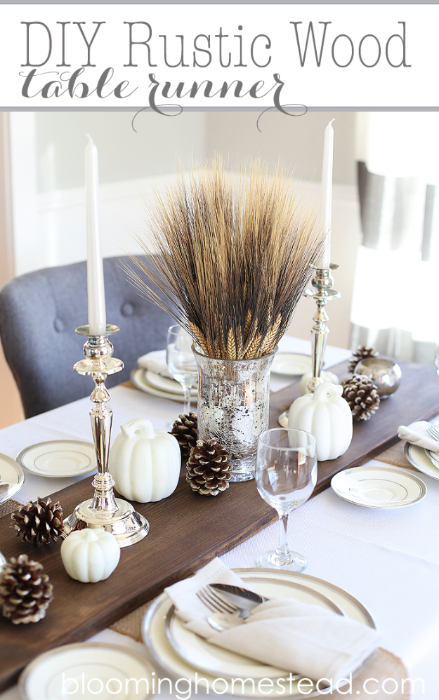 Best Thanksgiving Centerpieces and Table Decor - Rustic Wood Table Runner - Creative Crafts for Your Thanksgiving Dinner Table. Mason Jars, Flowers, Leaves, Candles and Pumkin Decorations for Your FallHome Decor http://diyjoy.com/best-thanksgiving-centerpieces