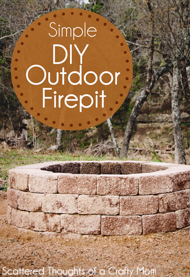 DIY Fireplace Ideas - Simple DIY Outdoor Firepit - Do It Yourself Firepit Projects and Fireplaces for Your Yard, Patio, Porch and Home. Outdoor Fire Pit Tutorials for Backyard with Easy Step by Step Tutorials - Cool DIY Projects for Men #diyideas #outdoors #diy