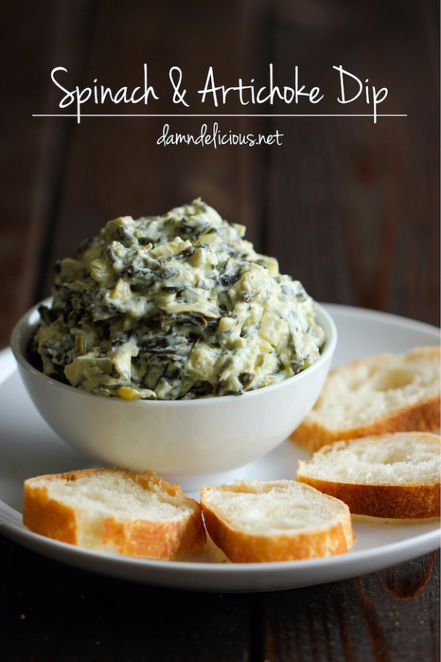 Thanksgiving Recipes You Can Make In A Crockpot or Slow Cooker - Slow Cooker Spinach And Artichoke Dip - Soups, Stews, Desserts, Dips, Sides and Vegetable Recipe Ideas for Your Crock Pot #thanksgiving #recipes