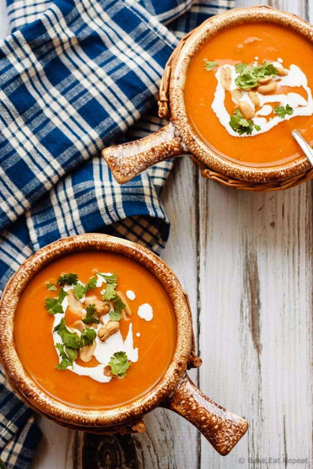Thanksgiving Recipes You Can Make In A Crockpot or Slow Cooker - Slow Cooker Thai Pumpkin Soup - Soups, Stews, Desserts, Dips, Sides and Vegetable Recipe Ideas for Your Crock Pot #thanksgiving #recipes