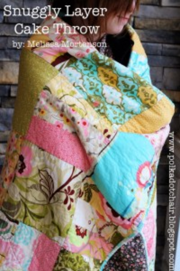 DIY Gifts To Sew For Friends - Snuggly Layer Cake Throw - Quick and Easy Sewing Projects and Free Patterns for Best Gift Ideas and Presents - Creative Step by Step Tutorials for Beginners - Cute Home Decor, Accessories, Kitchen Crafts and DIY Fashion Ideas #diy #crafts #sewing