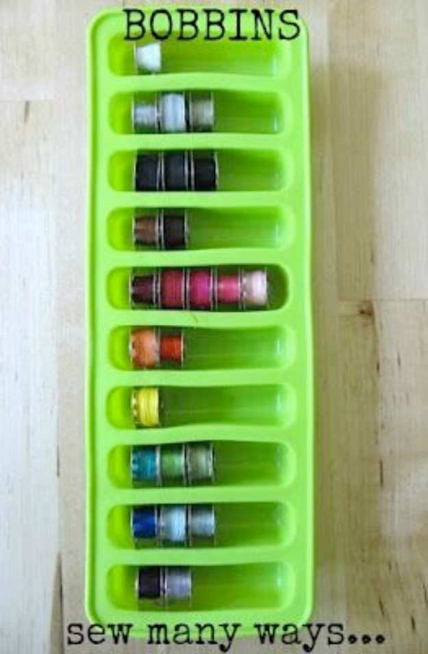 DIY Crafting Hacks - Store Bobbins In An Ice Cube Tray - Easy Crafting Ideas for Quick DIY Projects - Awesome Creative, Crafty Ways for Dollar Store, Organizing, Yarn, Scissors and Pom Poms