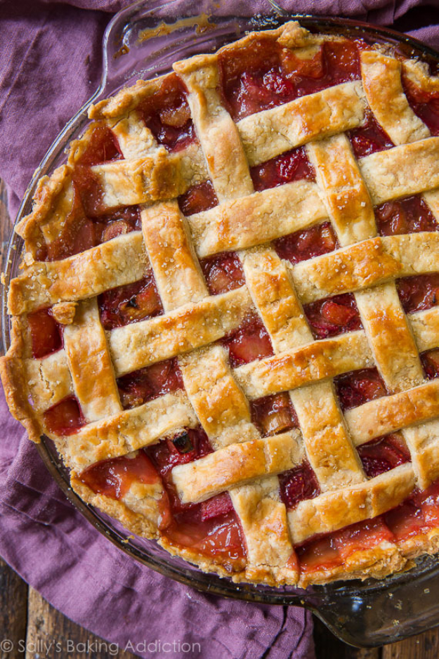Best Pie Recipes - Strawberry Rhubarb Pie - Easy Pie Recipes From Scratch for Pecan, Apple, Banana, Pumpkin, Fruit, Peach and Chocolate Pies. Yummy Graham Cracker Crusts and Homemade Meringue #recipes #dessert