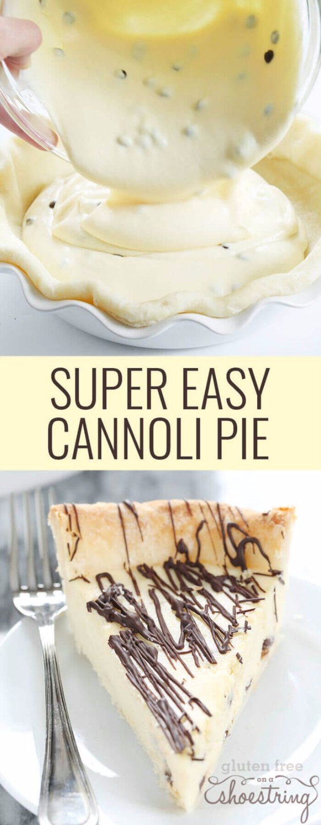 Best Pie Recipes - Super Easy Gluten Free Cannoli Pie - Easy Pie Recipes From Scratch for Pecan, Apple, Banana, Pumpkin, Fruit, Peach and Chocolate Pies. Yummy Graham Cracker Crusts and Homemade Meringue #recipes #dessert